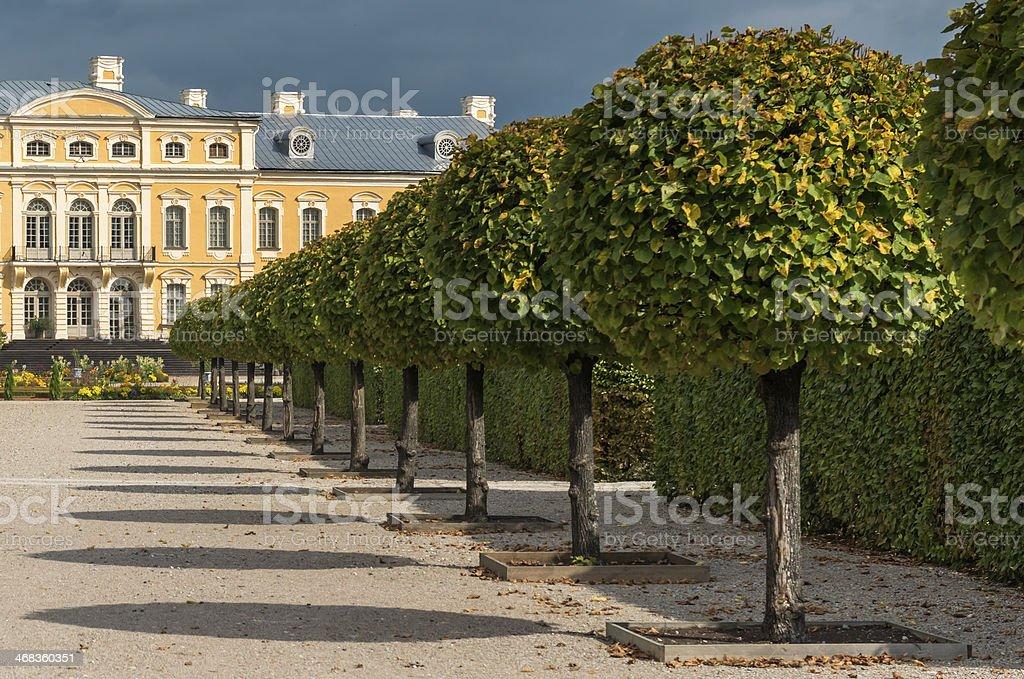 View on Rundale Palace and botanic park, Latvia royalty-free stock photo