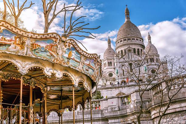 view on sacre coeur with old caroussel - montmatre utsikt bildbanksfoton och bilder