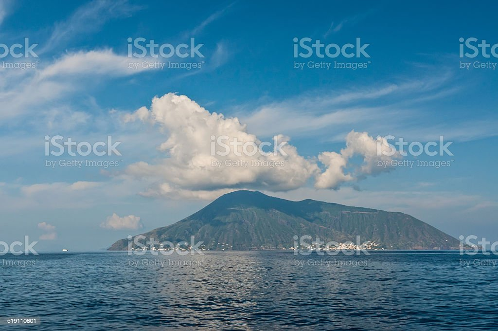 View on Salina island stock photo