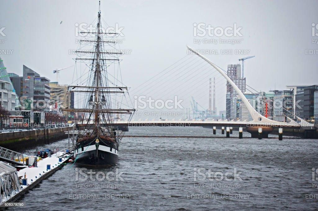 View on Samuel Beckett Bridge winter time, Dublin, Ireland. Beast from the East stock photo