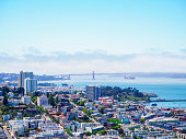On the top of Coit tower, tourists could admire a beautiful view on San Francisco Bay in July 2019