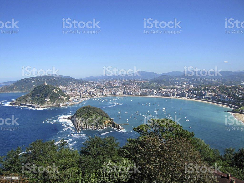View on San Sebastian harbor stock photo