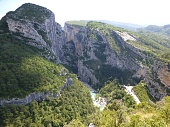 View on scenery cliffs of Grand canyon du Verdon in Provence, France