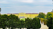 In October 2014, tourists could admire from the end of the garden the beautiful facade if Schonbrunn Palace in Vienna.