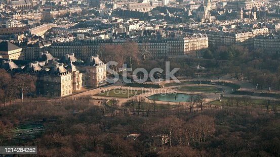 Aerial view on Senate and Luxembourg garden, in Paris.