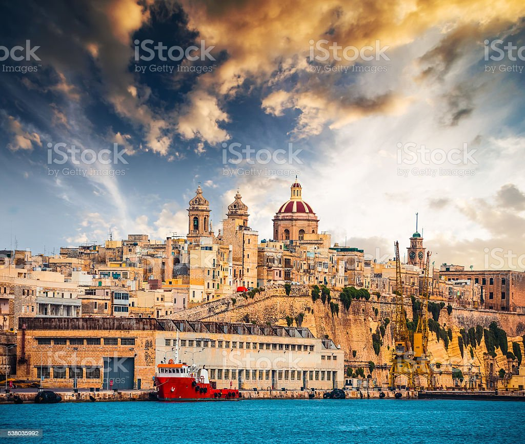 view on Senglea fort in Malta stock photo