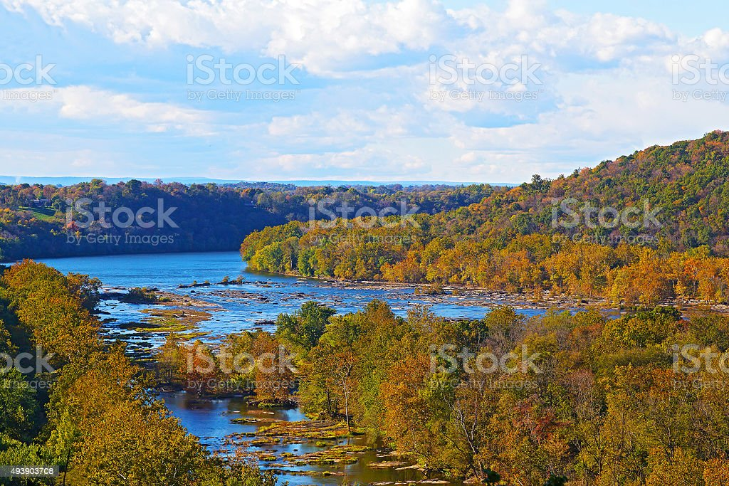 View on Shenandoah River and Blue Ridge mountains in fall stock photo