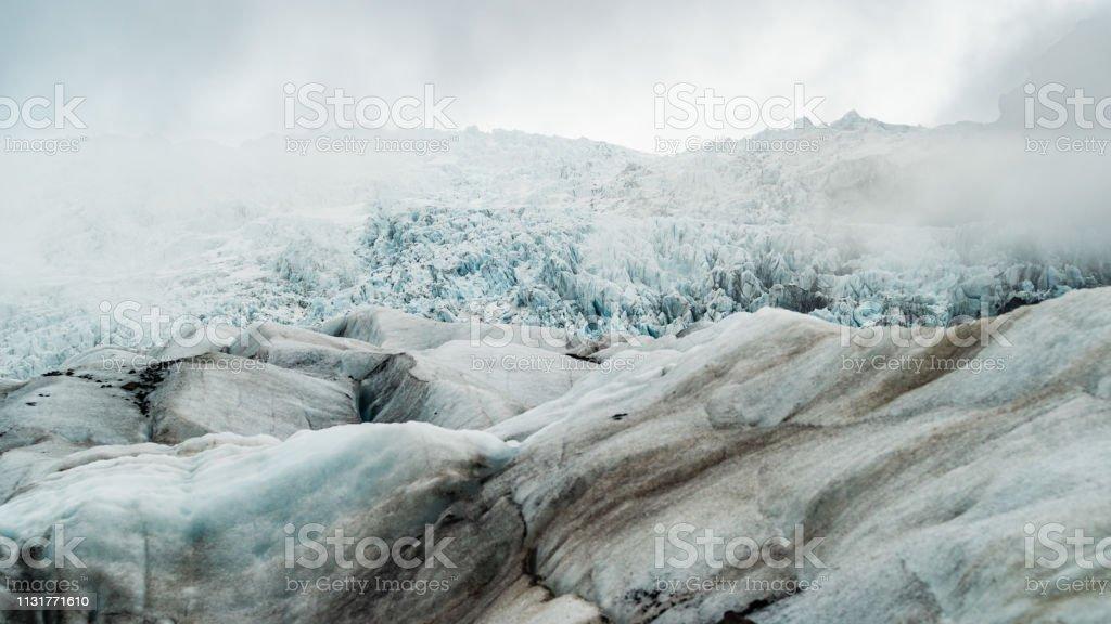 View on Skaftafell glacier from far below стоковое фото