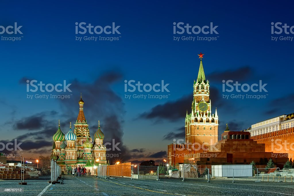 View on Spassky Tower, and St. Basil's Cathedral stock photo