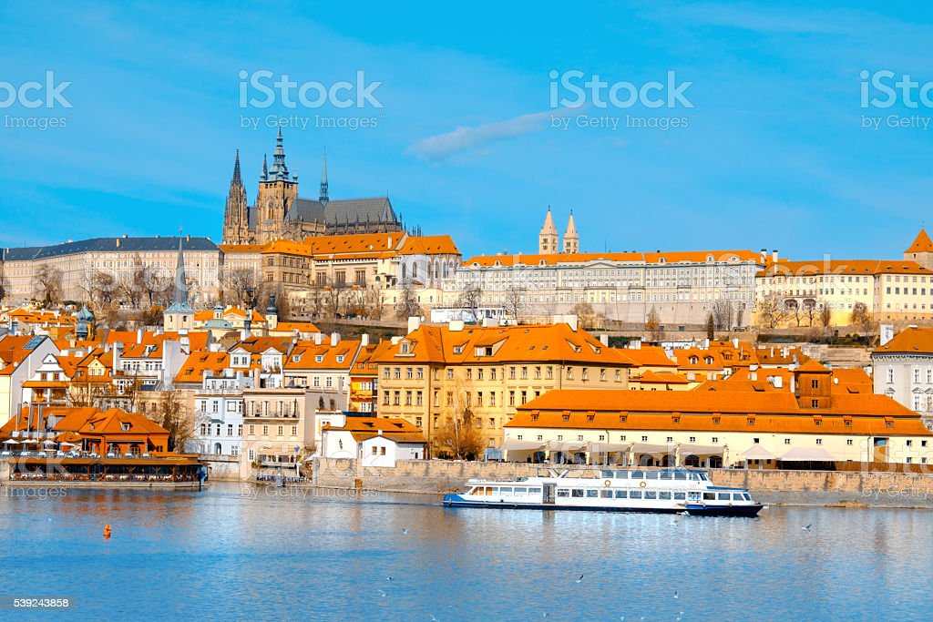 View on St. Vitus Cathedral and central Prague royalty-free stock photo