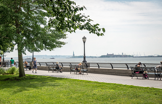 New York, USA - July 13, 2015: View on Statue of Liberty. The Statue of Liberty is a colossal neoclassical sculpture on Liberty Island in New York Harbor.