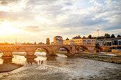 View on Stone bridge from Oko bridge in Skopje on sunset