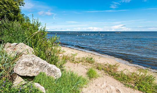 View on stony beach of the Baltic sea, Latvia