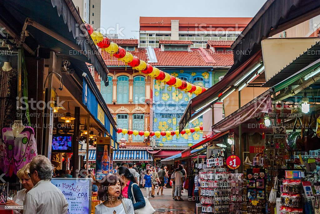 View on street in China town, Singapore royalty-free stock photo