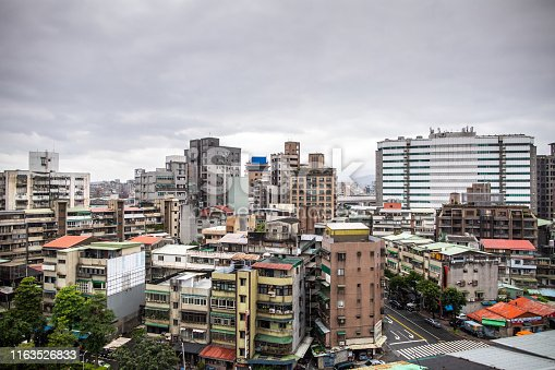 Beautiful View on downtown district in Taipei from window, on day