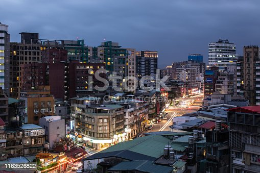 Beautiful View on downtown district in Taipei from window, on night