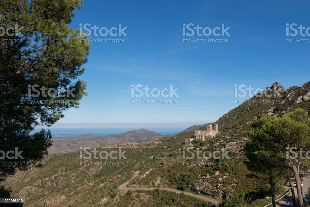 View on the abbey of Sant Pere de Rodes, Catalonia, Spain. stock photo