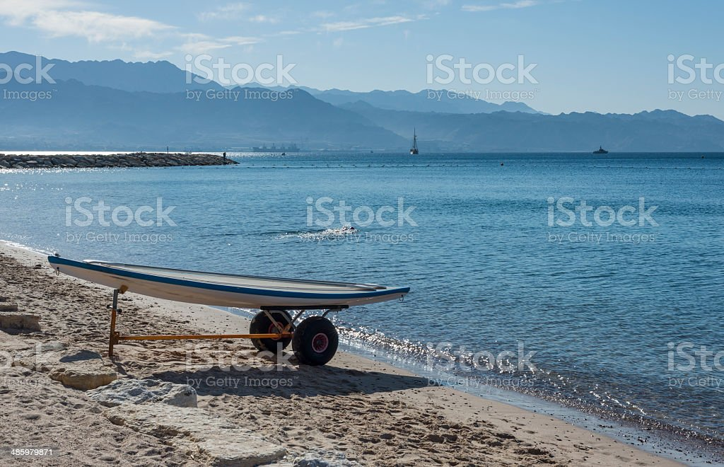 View on the Aqaba gulf from central beach of Eilat royalty-free stock photo