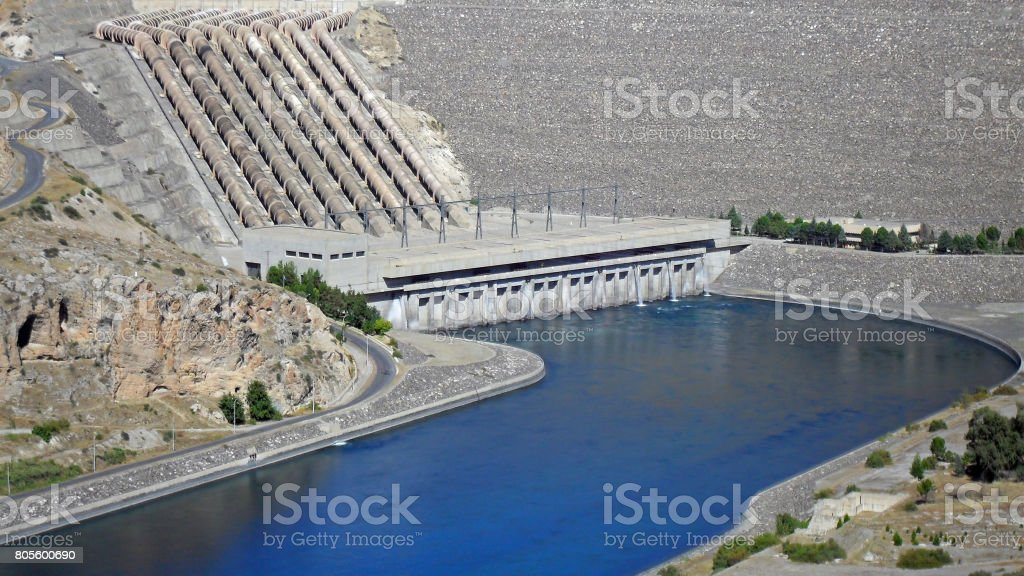View on the Atatürk Dam in the Euphrates River in Turkey stock photo