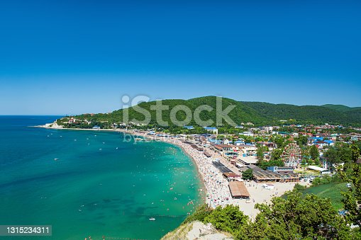 View on the beach and the village of Arkhipo-Osipovka on the Black Sea coast