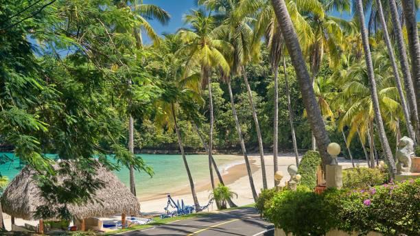 View on the beach Playa Caracol of Contadora island stock photo