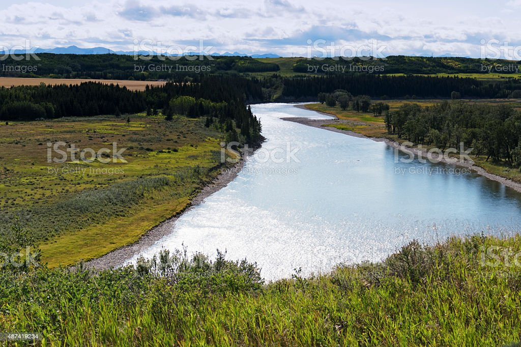 View on the Bow River from Glenbow Ranch Provincial Park stock photo