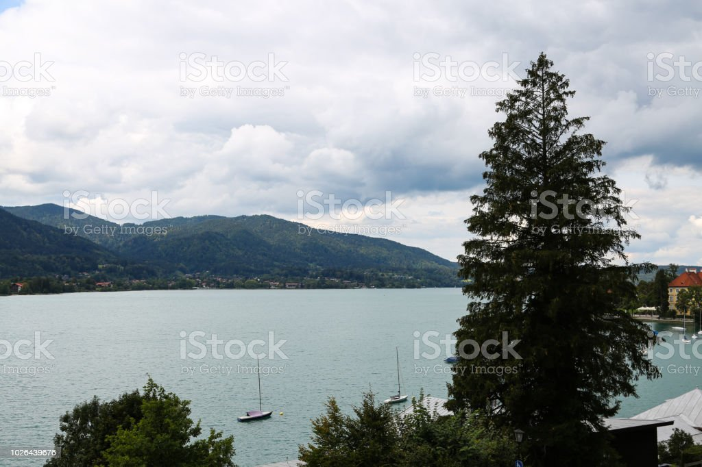 View on the Bräustüberl at the Tegernsee stock photo