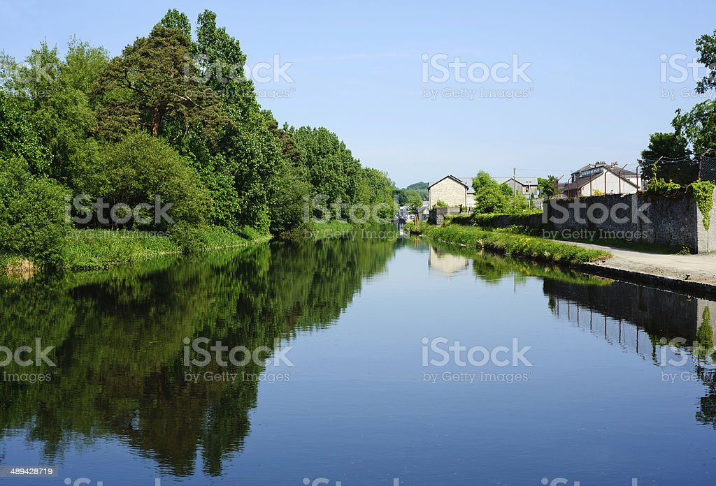 View  on the canal in summer time stock photo