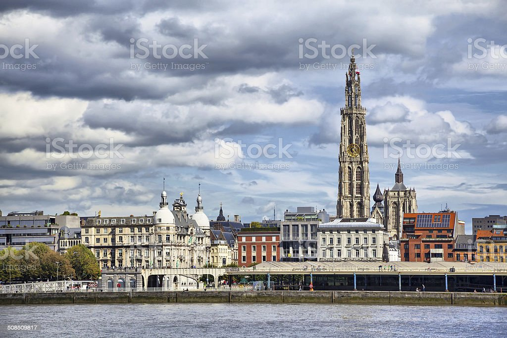 View on the center of Antwerpen stock photo