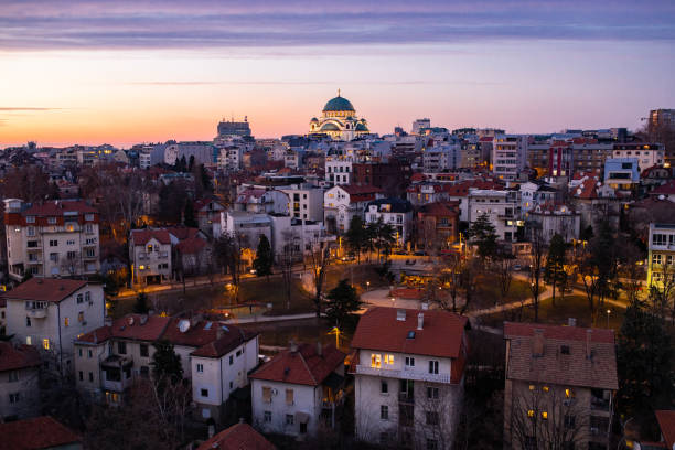 View on the city in background is Saint Sava temple Belgrade stock photo