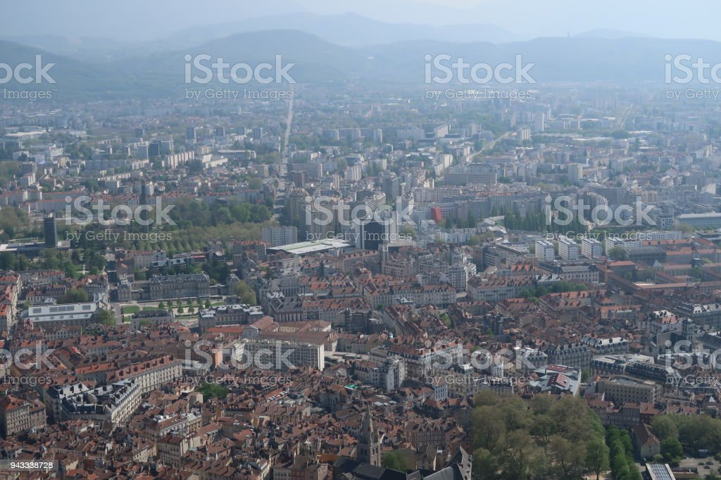 View on the city of Grenoble from the Bastille stock photo