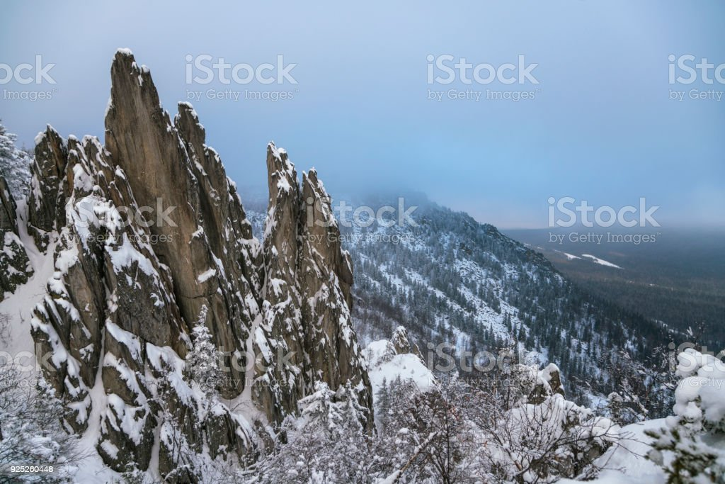 View on the cliff. South Ural, Russia stock photo