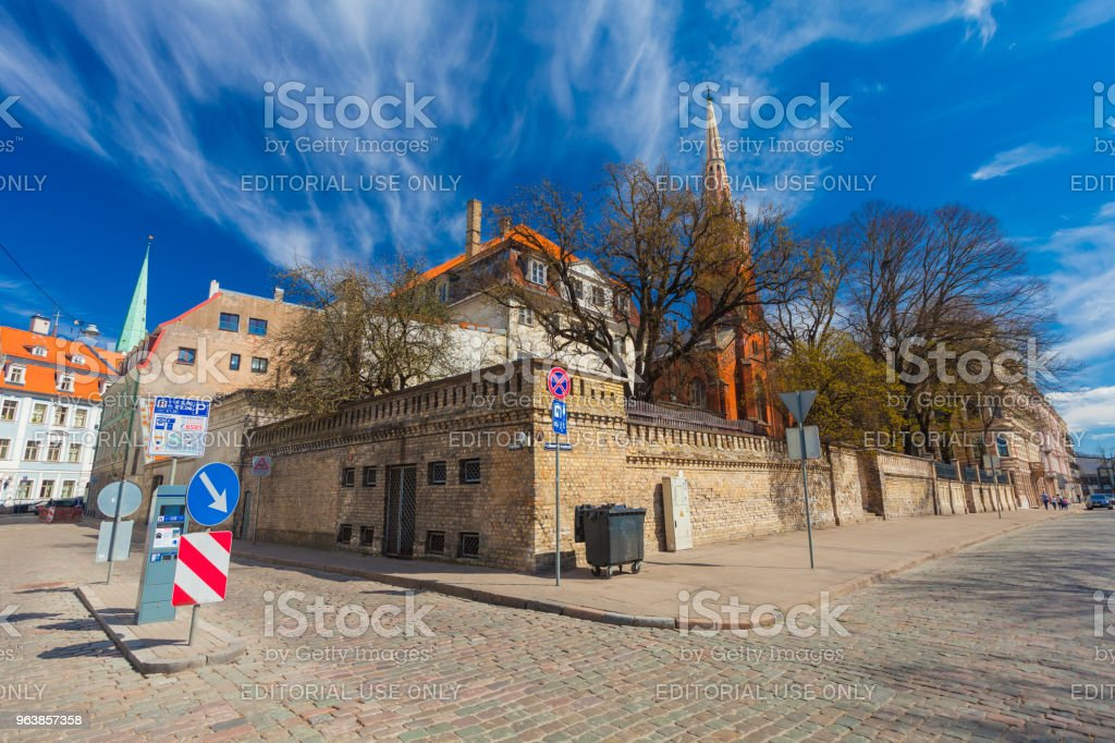 View on the colored cozy old houses, church that are located in the city center of Riga. Latvia. - Royalty-free Architecture Stock Photo