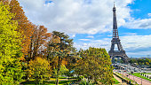 View on the Eiffel Tower from Trocadero Esplanade in Autumn.
