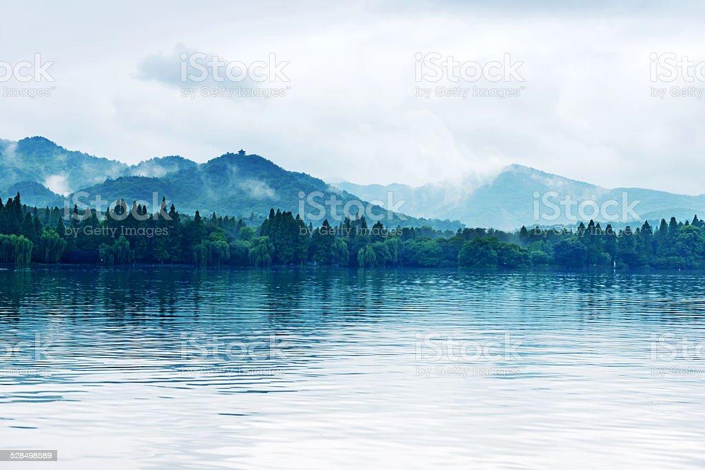 View on the enchanting West Lake, Hangzhou, China stock photo