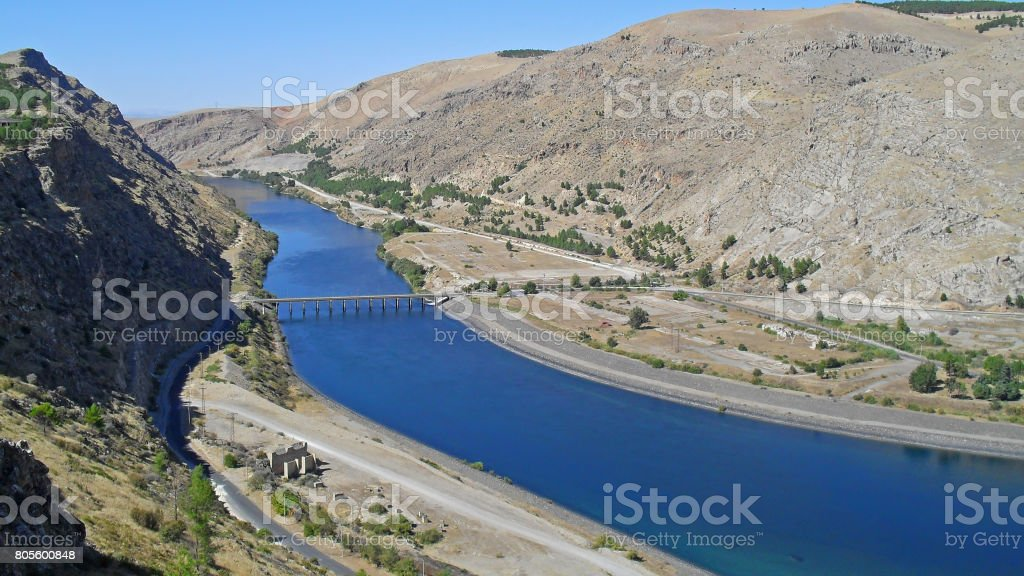 View on the Euphrates River in Turkey stock photo