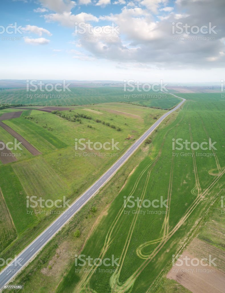 View on the field from air. Agricultural landscape in the summer time royalty-free stock photo