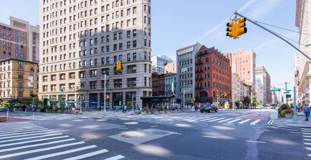 View on the Flatiron Building in New York at the 5th Avenue stock photo