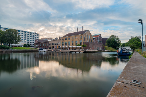 View on the former industrial inner harbour 't Bassin in Maastricht