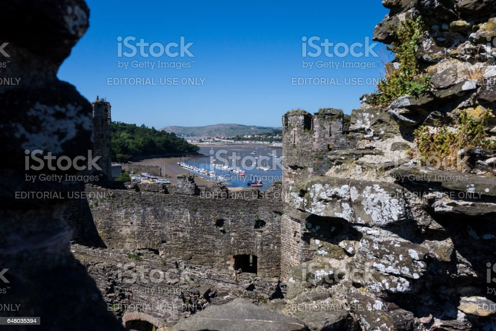 View on the harbor of Conwy from the medieval castle stock photo