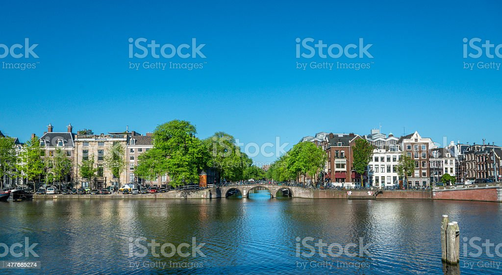 View on the Herengracht, seen from the river Amstel, Amsterdam. stock photo