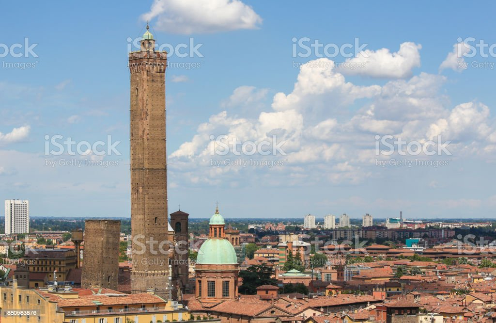 View on the historic center of Bologna, Italy stock photo