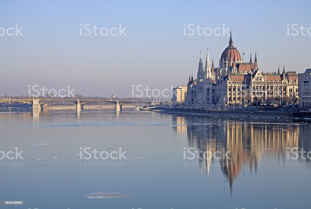 View on the Hungarian Parliament Building, Budapest, Hungary stock photo