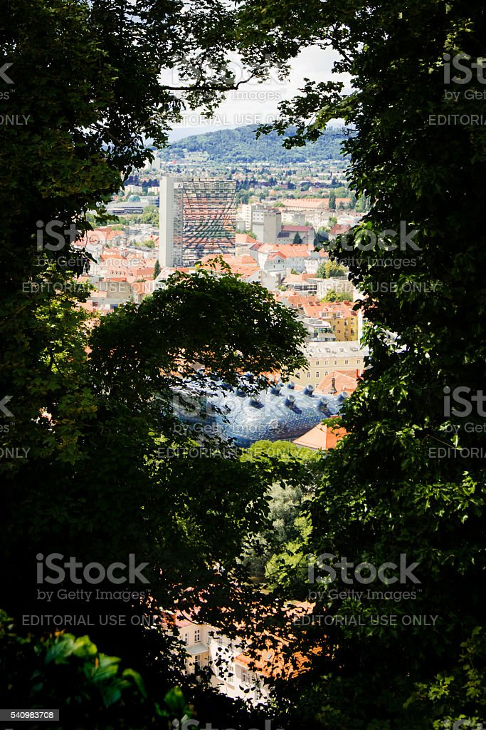 View on the interesting architecture of Graz, Austria, from the stock photo