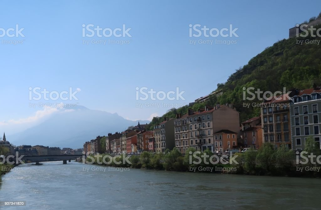 View on the Isère river, Grenoble and the Vercors stock photo