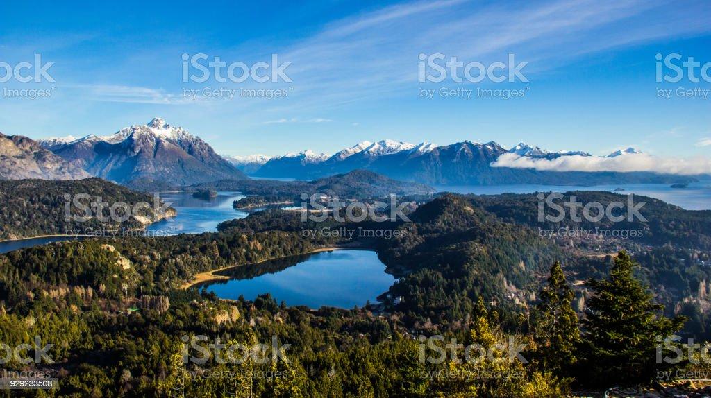 View on the lake Nahuel Huapi near Bariloche, Argentina, from Cerro Campanario stock photo
