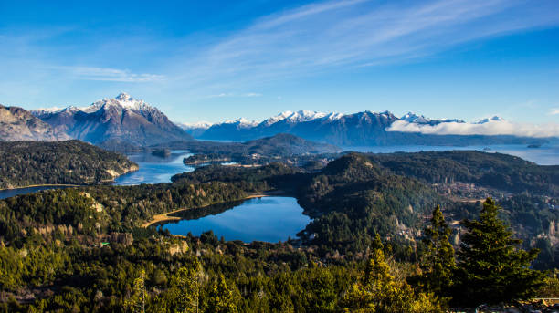 View on the lake Nahuel Huapi near Bariloche, Argentina, from Cerro Campanario View on the lake Nahuel Huapi near Bariloche, Argentina, from Cerro Campanario Argentina stock pictures, royalty-free photos & images