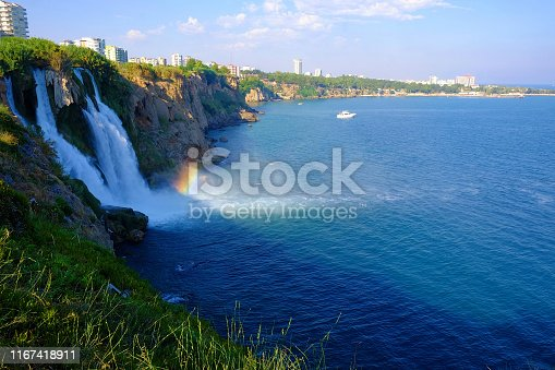 View on the Lower Duden Waterfall in Analya from the sea.