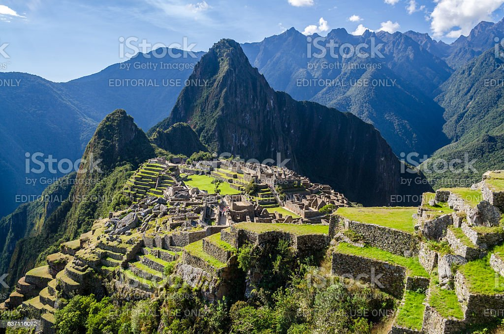 View on the Machu Picchu on a sunny day stock photo