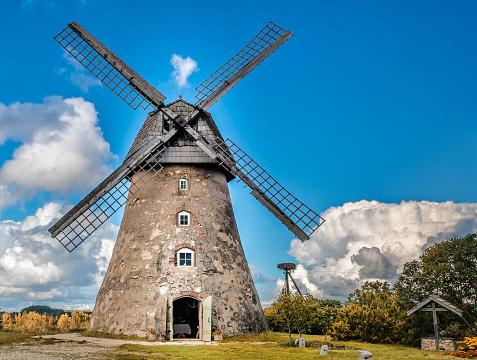 View on the medieval windmill Vidzeme, Latvia